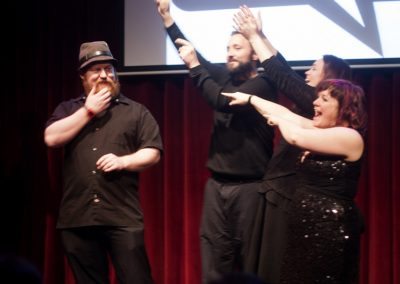BJ, Mike, Jess, and Kristen host the 10 year anniversary show at World Cafe Live. Image credit: Katie Reing