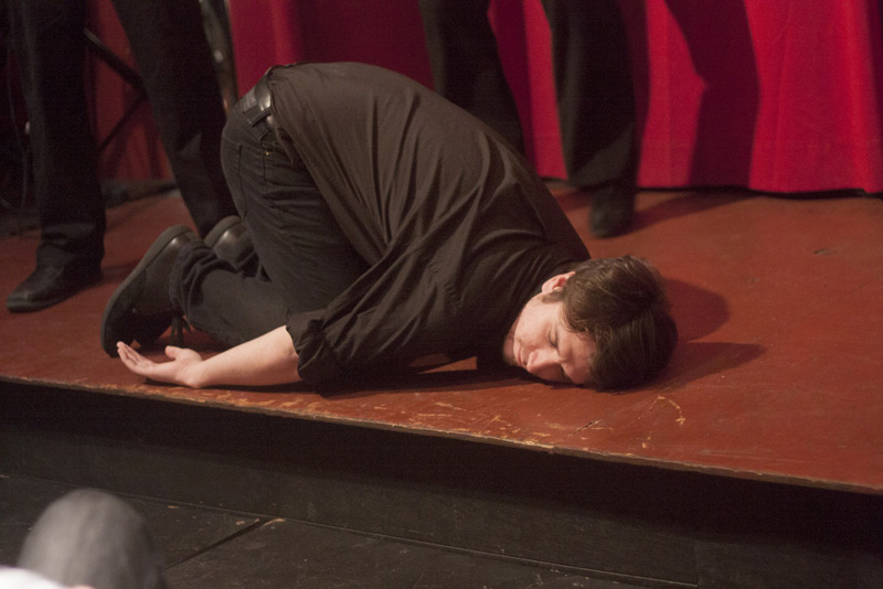Jamie Glasheen on the floor at an N Crowd Show. It must have been really funny. Come see us every friday night in Old City Philadelphia